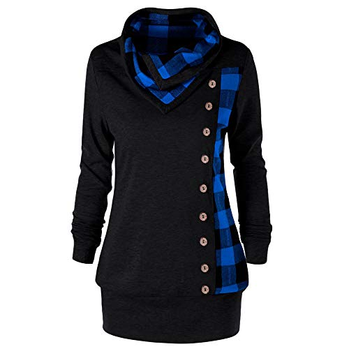 OSYARD Damen Kleid Dress Oberseiten Pullover Sweatshirt, Frauen Hemd Tunika Große Größe Schal Kragen Karierte Bluse T-Shirt Top Pulli mit Button Plaid Patchwork Blusekleid Freizeit Dress(4XL, Blau)