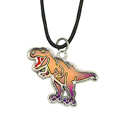 6. Fun Jewels Handmade T-Rex Dinosaur Color Changing Mood Necklace