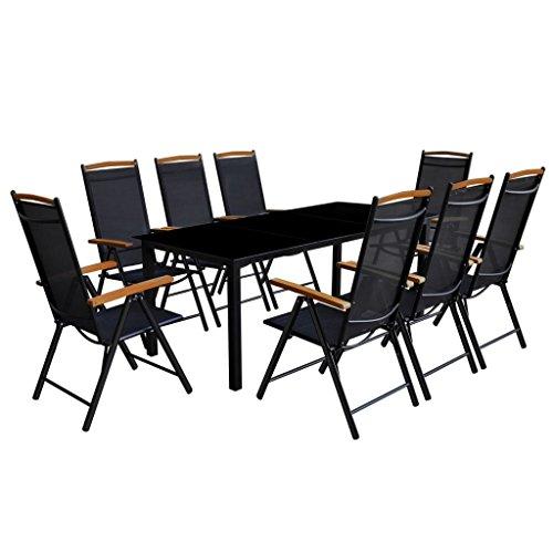 Tidyard 9-TLG. Gartenmöbel Set Garten Essgruppe Gartengruppe Sitzgruppe Sitzgarnitur aus Aluminium & Glas-Tischplatte inkl. 1 Tisch 190 x 90 x 74 cm und 8 Klappstühle 54 x 73 x 107 cm