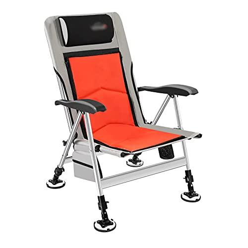 xinxinchaoshi Silla Camping Silla reclinable de la Oficina Sillón de Cacahuete de Pesca con Almohada Piernas Ajustables con Respaldo Plegable para sillas de Playa para Acampar 400 lbs Silla Pesca