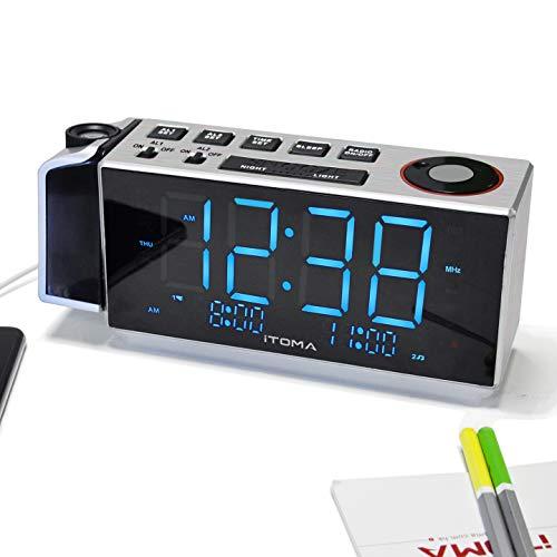 """Projektionswecker, iTOMA FM-Dual Alarm-Radiowecker, USB-Aufladung, Digital-FM-Radio, Nachtlicht, 1,8\"""" Ice Blue-LED-Anzeige, Auto & Manual Dimmer (CKS509)"""