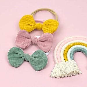 1 Babyschleife Haarband – senfgelb – weiches Baby Stirnband mit Schleife Musselin – Baby bow – gelb senf ocker…