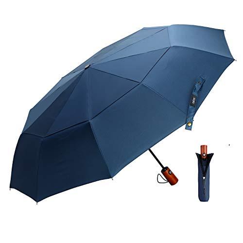 EKOOS Regenschirm Taschenschirm Automatik Groß Winddicht Doppel Baldachin 210T Stoff Auf-Zu-Automatik10 Rippen mit Fiberglas Gestänge (Blau)