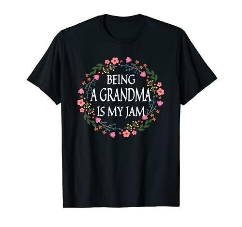 Being A Grandma Is My Jam Vintage Floral Lindas Mujeres Camiseta