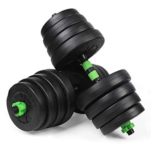 #DoYourSports Juego de Mancuernas Ajustables con Barra Adicional - Pesas Gimnasia en Casa - Entrenamiento de Fitness para Hombres y Mujeres - 30 kg Verde