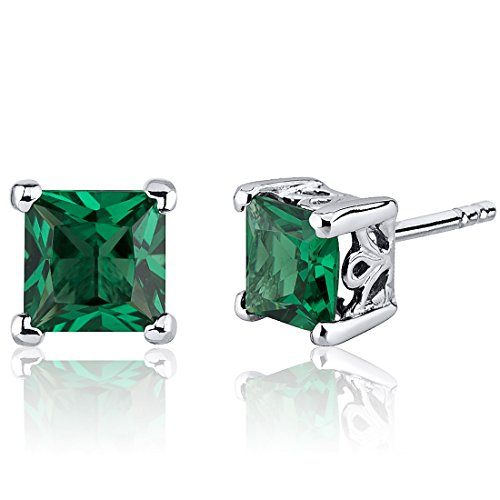 Simulated Emerald Princess Cut Stud Earrings Sterling Silver 2.00 Carats