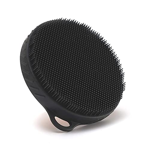 Food-grade Soft Silicone Body Scrubber Gentle Exfoliating Shower Cleansing Brush Natural Bristles, for Sensitive and All Kinds of Skin (Black)