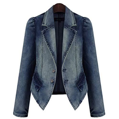 HANGMANGONGLU jasjes voor vrouwen grote grootte lange mouwen jeansjack jas