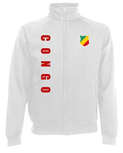 AkyTEX Kongo Congo Sweatjacke Jacke Trikot Wunschname Wunschnummer (Weiß, XL)