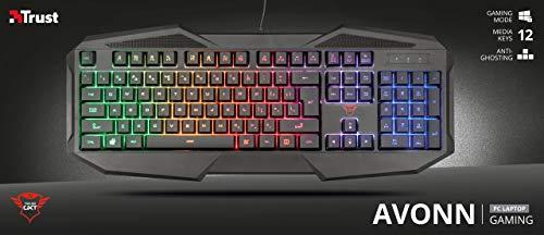 Trust Gaming GXT 830-RW Avonn Gaming-Tastatur, QWERTY + Nederlandse Toetsenbord - Schwarz, 21621