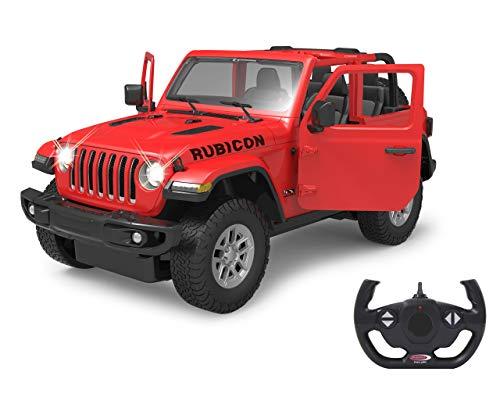 Jamara 405179 Jeep Wrangler JL 1:14 rot 2,4GHz Tür manuell-offiziell lizenziert, bis 1 Std Fahrzeit, ca. 11 Kmh, perfekt nachgebildete Details, detaillierter Innenraum, LED Licht