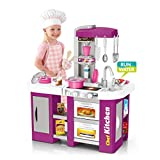 Bieay Kids Kitchen Playset, Large Plastic Play Kitchen with Realistic Lights & Sounds, Kitchen Accessories Set for 3 Years of Age and Older, 33x13.8x24.8 inches (As Show)