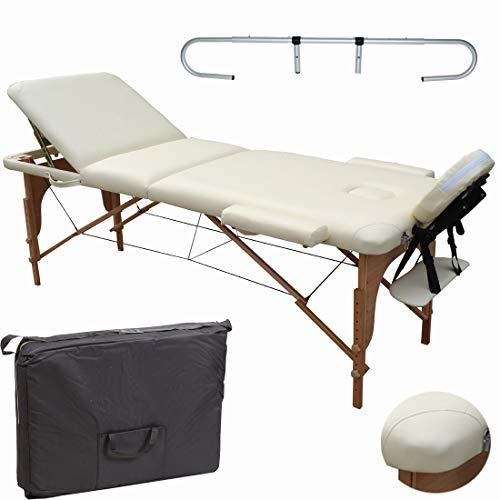 Beltom Mobile Massagetisch Massageliege Massagebank 3 zonen klappbar Creme+ Rollenhalter