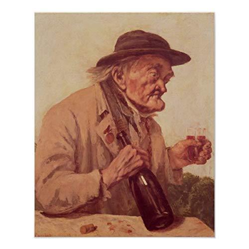 CiCiDi Póster de Old Man con una copa de vino, decoración de pared, 40,6 x 60,9 cm