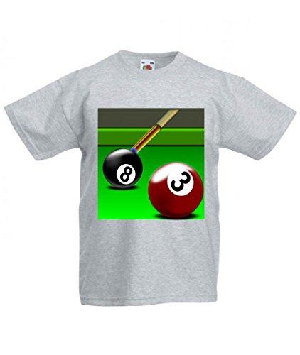 Camiseta de billar de manga corta, diseño con texto en alemán 'Billard' y 'Rack' para practicar deporte, juego de tres aguas, bola negra, verde, para hombre, mujer, niños, 104 – 5 XL gris Talla del hombre: 5X-Large