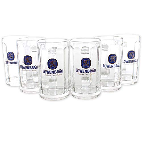 Löwenbräu Gläser 6x0,5l Exklusiv Glückauf Seidel Bier-Glas ~mn 412 7i2r