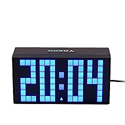 Yosoo Large Big 4 6 Digit Jumbo LED Digital Alarm Calendar Snooze Wall Desk Clock (Bule, 4-Digit Version)