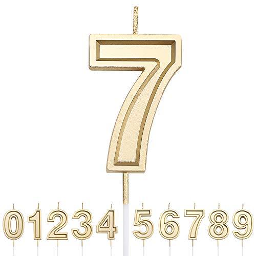 URAQTGeburtstagZahlKerzen,Golden ZahlKerzen, Geburtstagskerzen,DekorativeGeburtstagstorte,Hochzeitsparty,Cake Topper Dekoration für Geburtstagsfeier Favor (Golden), Nummer 7
