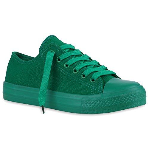 stiefelparadies Sportliche Damen Basic Sneakers Low Canvas Schuhe Schnürer 120045 Grün Grün Basic 36 Flandell