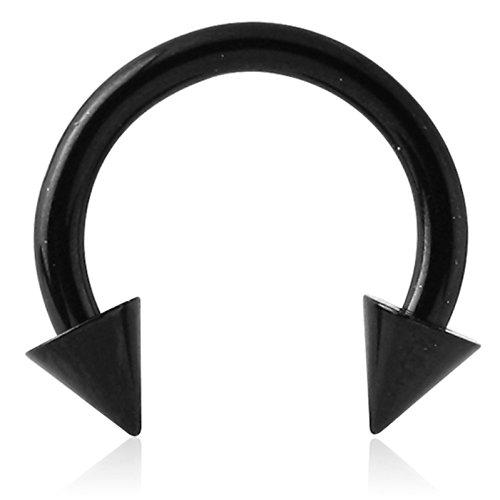 eeddoo Piercing Hufeisen mit Stacheln Schwarz Titan Stärke: 1,6 mm Durchmesser: 8 mm 4 mm