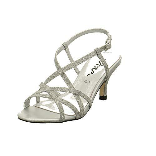 Vista Damen 90-6508 Silberfarbene Textil Sandalette Größe 37 EU Silber (Silber)