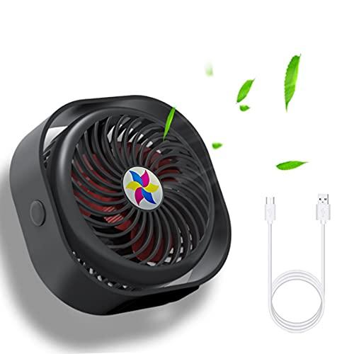 EasyULT Ventilador USB, 3 Velocidades Mini Ventilador USB Silencioso, Alimentado por USB, Personal Portátil Ventilador PC, 360 Grados de Rotación, para Oficina/Hogar/Viajar/Acampar-Negro Oscuro