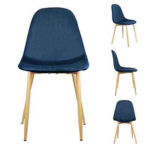 1 set di 4 sedie da pranzo in pelle PU per il tempo libero sedia stile retrò cucchiaio sedia adatto per sala da pranzo, soggiorno, hall, camera da letto, luogo di intrattenimento (flanella-blu)