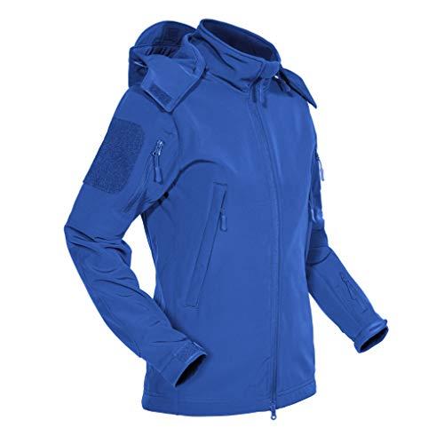 MAGCOMSEN Rainproof Jacket Women with Fleece Ski Windbreaker Coats Hoodies Cold Weather Walking Jacket Womens Waterproof Coat Windproof Snow Sport Jacket Women Fishing Clothing Blue