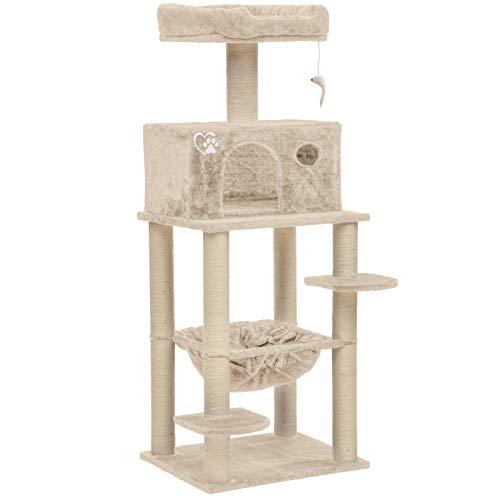 Midori® Kratzbaum für Katzen | Stabiler 147 cm hoher Katzenbaum Felix in Beige | Mittelgroßer Kletterbaum mit Liegemulde, Höhle, Aussichtsplattform, Sisal & Spielzeug