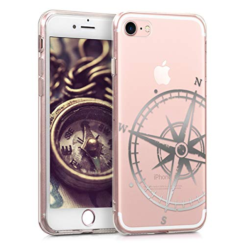 kwmobile Hülle kompatibel mit Apple iPhone 7/8 / SE (2020) - Handyhülle Silikon Hülle - Kompass Vintage Silber Transparent