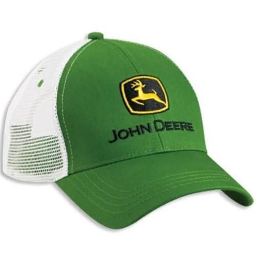 7afa444a43c John Deere Green White Mesh Trucker Curved Bill Hat Cap Adjustable Logo  Farming
