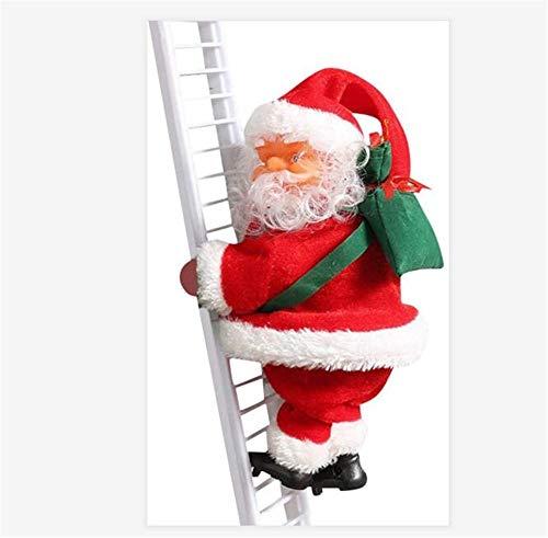 BCLGCF Escalera De Escalada Papá Noel, Escalera De Escalada Eléctrica Papá Noel con Música, Adorno De Estatuilla De Navidad, Juguete De Adorno De Navidad Colgante De Escalada Eléctrico De Papá Noel