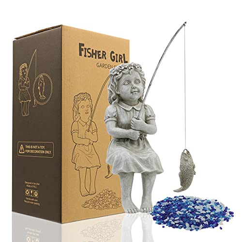 Nacome The Little Fishergirl Garden Statue,Girl Fisherman Figurine Sculpture,Outdoor Yard Lawn Pool Pond Fishing Ornament,10 Inch