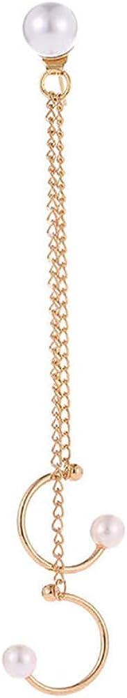 Aland 1Pc Women Fashion Jewelry Gift Fake Pearl Chain Ear Cuff Clip Stud Earring Golden