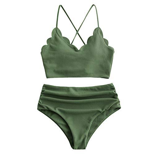 ZAFUL Women's Scalloped Textured Swimwear High Waisted Wide Strap Adjustable Back Lace-up Bikini Set Swimsuit (S, Medium Forest Green-B)