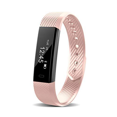 XUEXIU Paso Cuenta Inteligente Pulsera Banda Muñequera Reloj Silicona Bluetooth Simple Deporte Mensaje Push Sleep Prueba De La Actividad Portátil Registro (Color : Pink Upgrade)