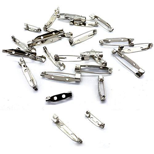 HEEFEN 200 Pezzi Pin Spilla 20mm Bar Pins32mm Argento Spille di Sicurezza per Fai da Te Nome Tag Matrimonio Pin Artigianali Fare Gioielli