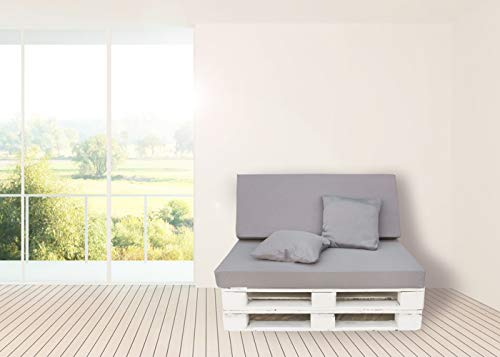 Colchon y Respaldo de Espuma para Sofá de Palet Tejido Dibujo- Jardínes, terrazas, Balcones (Gris)