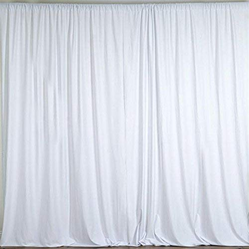 AK TRADING CO. 10 feet x 10 feet Polyester Backdrop Drapes Curtains Panels with Rod Pockets - Wedding Ceremony Party Home Window Decorations - White 14' Tiffany Style Table