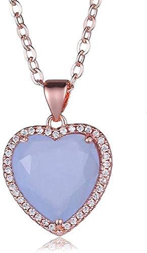 Collares pendientes de piedra para mujer Collar colgante de diamantes de imitación de cristal azul pálido envuelto en piedras preciosas naturales Collar colgante de cristal azul pálido con cadena