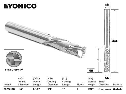 Yonico 33210-SC Yonico 33210-SC CNC Router Bit 2 Flute Compression Cut 1/4