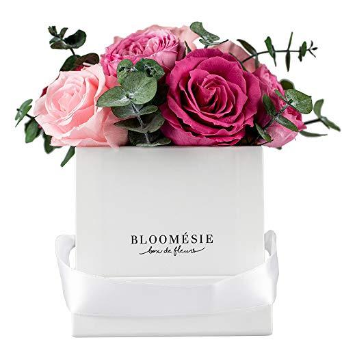 BLOOMÉSIE Duftende Rosenbox mit Eukalyptus l 7-9 Infinity Rosen (rosa-Mix) l Flowerbox...