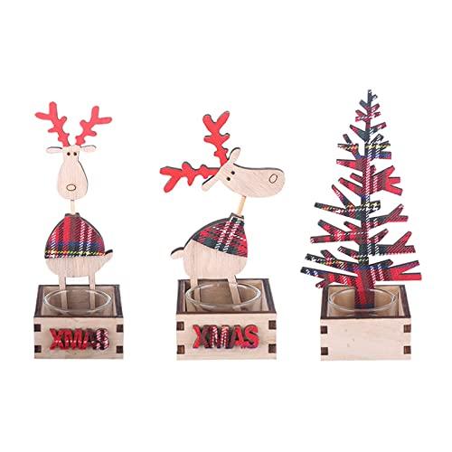 ZXCFTG 3 portavelas de madera con bandeja de madera para Navidad, decoración de mesa de Navidad para fiestas de Navidad, decoración del hogar