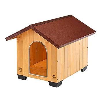 Ferplast Niche pour chiens pour l'extérieur DOMUS LARGE, bois FSC, Pieds isolants en plastique, Grille pour l'aération, Porte anti-morsures en aluminium