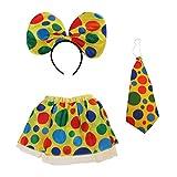 Circus Clown Dress Party Dress Up Clown Skirt Necktie Headband Costume Set Women...