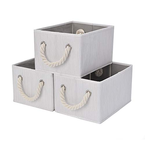 StorageWorks Storage Bins with Cotton Rope Handles, Foldable Storage Basket for Shelves, Mixing of Beige, White & Ivory, 3-Pack, Medium