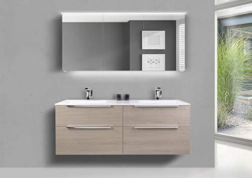 Intarbad ~ Badmöbel Set 150 cm Doppelwaschtisch Evermite, mit Unterschrank und Led Spiegelschrank Grau Matt Lack
