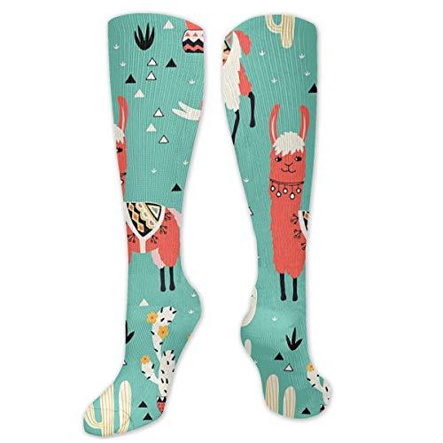 Myhou Kniestrümpfe, Damen, Oberschenkelhoch, lange Socken, Mädchen, Cartoon, Lamas und Kaktus Strümpfe