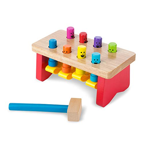 Melissa & Doug Deluxe Pounding Bench - The Original (Wooden Kids Toy with Mallet, Great Gift for Girls and Boys - Best for 2, 3, and 4 Year Olds)