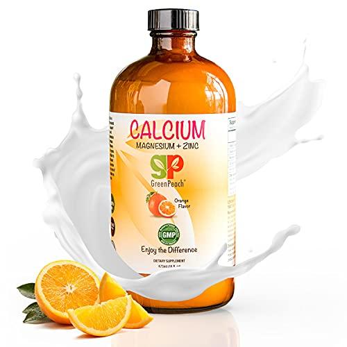 GreenPeach Liquid Calcium for Kids – Organic Calcium Magnesium Supplement – Vegetarian, Kosher Calcium Citrate with Vitamin D3 Kids Calming Supplement – No Sugar or Artificial Flavors
